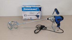 2 X SILVERLINE DIY 850W PAINT / CEMENT / PLASTER MIXERS WITH 120MM DIA PADDLE, 80 LITRE